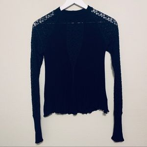 Free People | Black Sheer Lace Long Sleeve Top